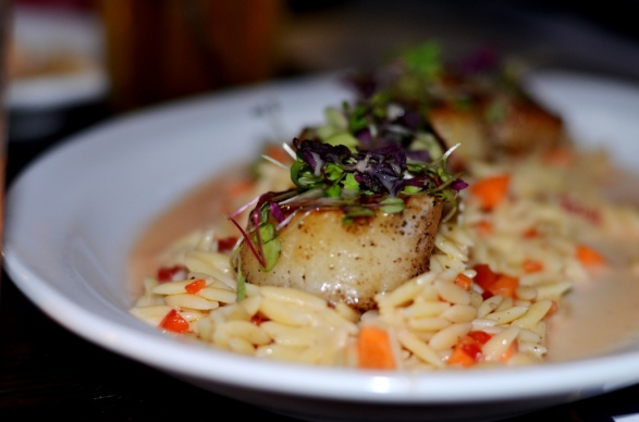 pan seared atlantic sea scallops at the Sign of the Whale