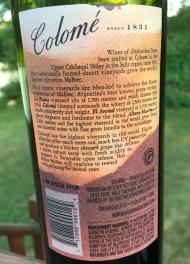 Colome Malbec back label