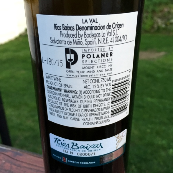 La Val Albarino Back label
