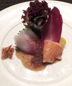 Sashimi Salad with Lettuce Handrolls