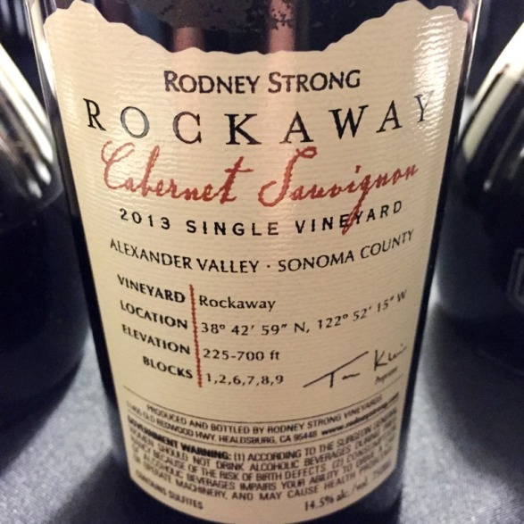 Rodeny Strong Rockaway Cabernet Sauvignon Back label