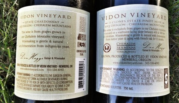 Vidon wines back label