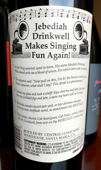 Jebediah Drinkwell's Meritage Red Wine back label