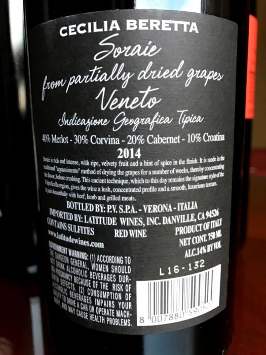 Cecilia Beretta soraie veneto back label