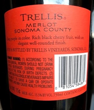 trellis merlot sonoma back label