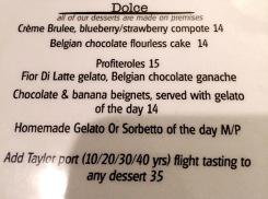 TerraSole dessert menu