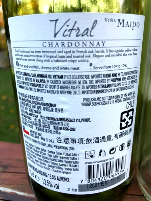 Viña Maipo Chardonnay back label