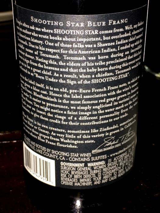 shooting star blue franc wine back labelTavern 489