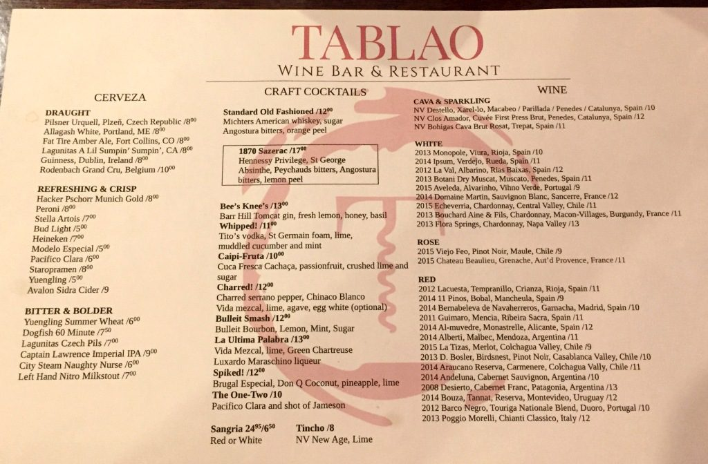 tablao cocktails and wines by the glass | Talk-A-Vino