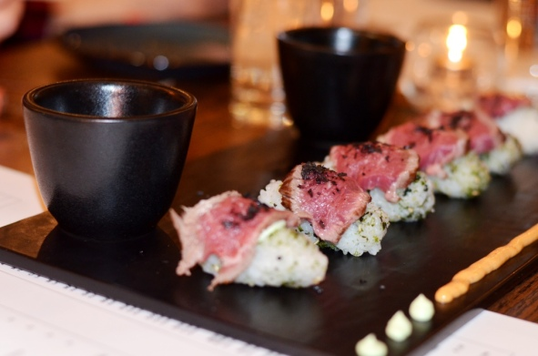 Hanger Sushi with Sauces MIRO Kitchen