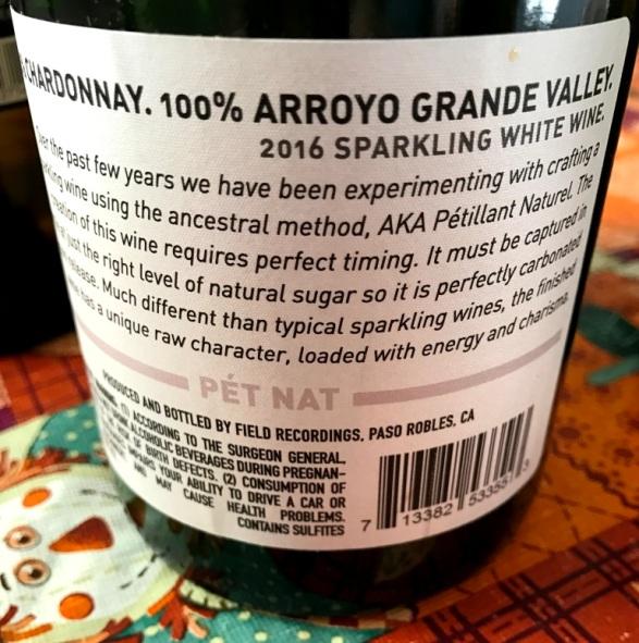 Fiction Wines Pét Nat Back Label