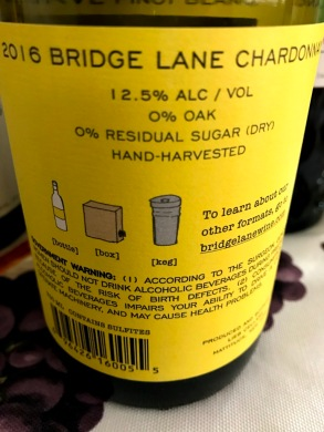Bridge Lane Chardonnay back label