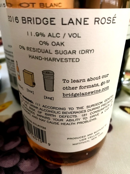 Bridge Lane Rosé back label