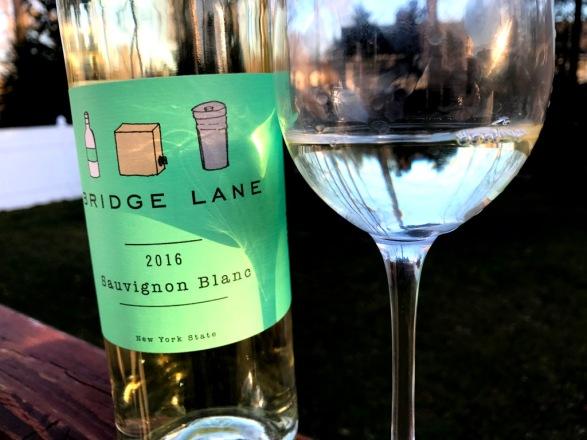 Bridge Lane Sauvignon Blanc with the glass