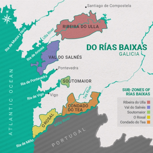 Rias Baixas Wiune Regions Map