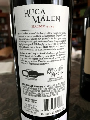 Ruca Malen Malbec back label