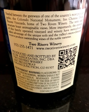 Two Rivers Syrah Mesa County Back Label