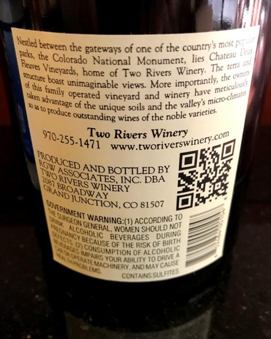 Two Rivers Syrah Mesa County Back Label