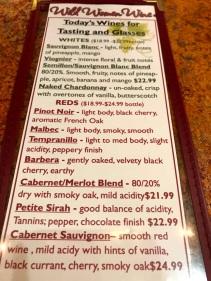 Wild Women Winery wine list
