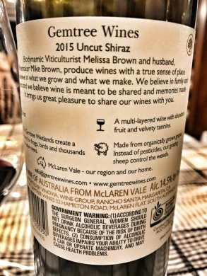 Gemtree Shiraz Back Label