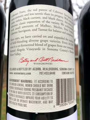 ACORN Vineyards Cabernet Franc back label