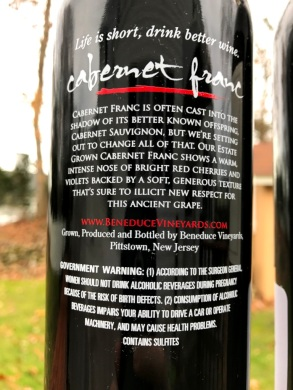 Beneduce Vineyards Cabernet Franc back label