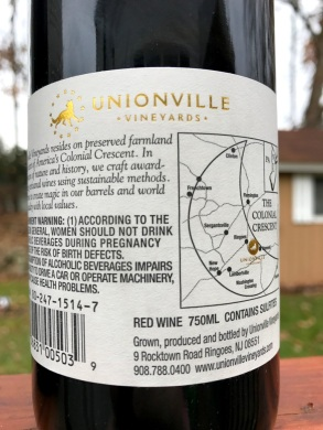 Unionville Vineyards Cabernet Franc back label