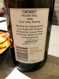 Grosset Polish Hill Riesling back label
