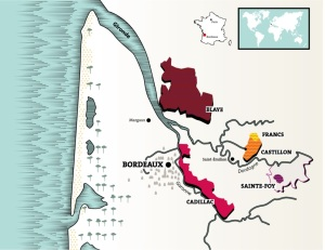 Cotes de Bordeaux map