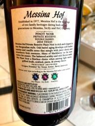 Messina Hof Pinot Noir Back Label