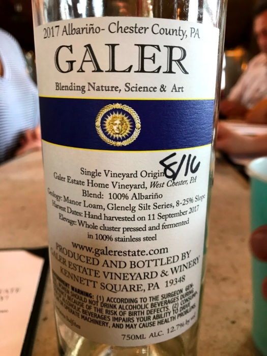 Galer Estate Albarino back label