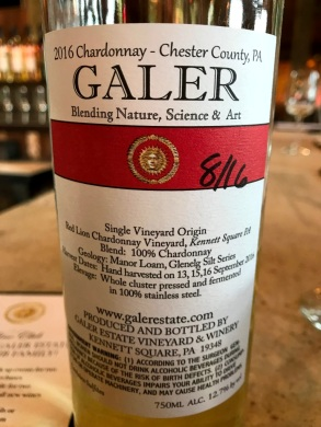 Galer Estate Red Lion Chardonnay back label