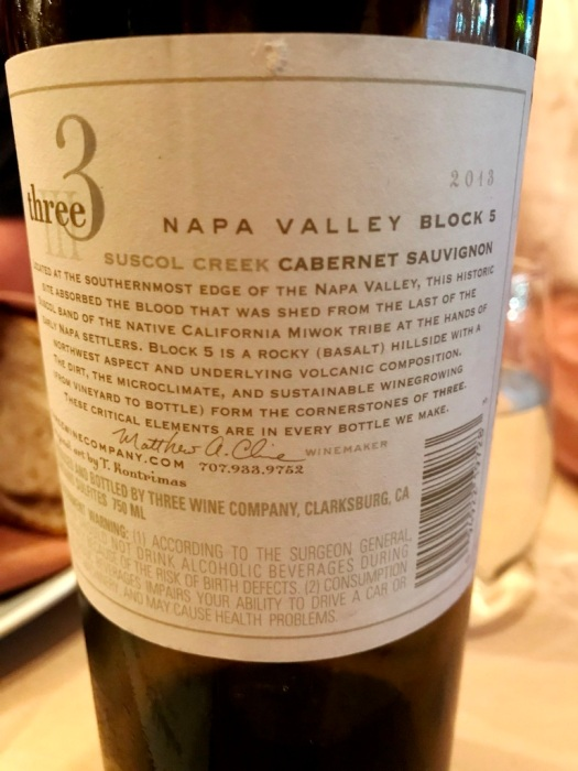 Three Wine Company Cabernet Sauvignon Napa Valley back label
