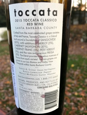 Lucas and Lewellen Toccata Classico back label