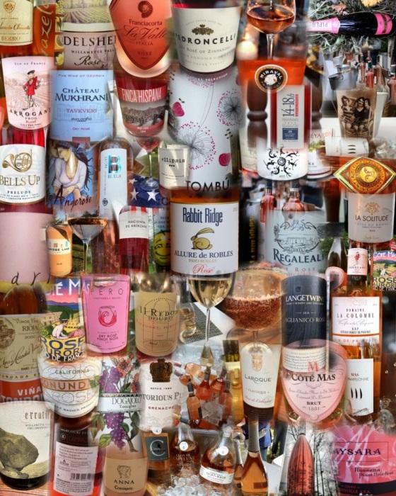 Rosé wines auto collage