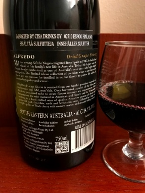 Alfredo Shiraz Back Label