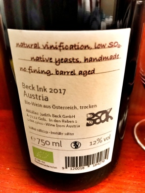 Beck Ink back label