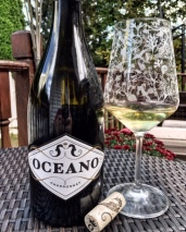 Oceano Chardonnay with a glass